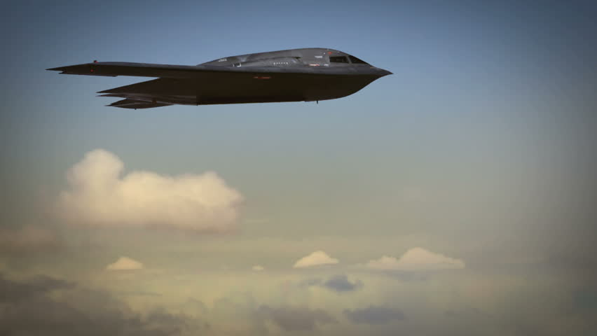B-2 Stealth Bomber in carpet bombing raid on foreign targets, Iraq, Afghanistan, cluster bombs. Massive aerial bombardment, bunker busters.