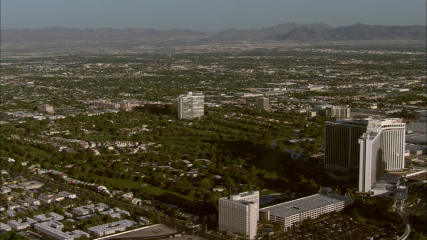 Las Vegas View Stratosphere. Great overview of several famous structures in Las Vegas, Nevada including Riviera Casino and Hotel. | Shutterstock HD Video #5743991
