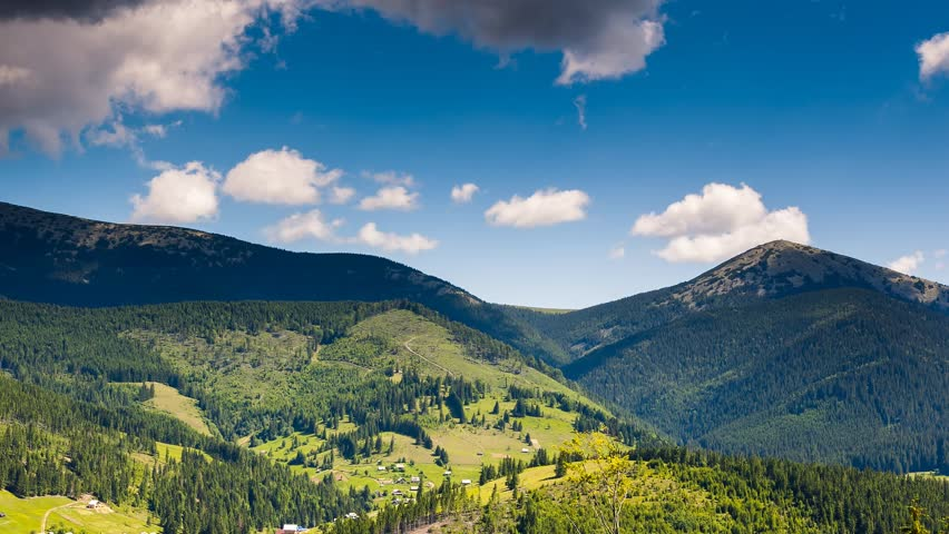 Time lapse clip. Fantastic mountain landscape. Carpathian, Ukraine, Europe. Beauty world. HD video (High Definition)