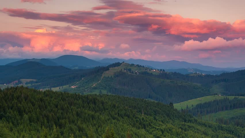 Time lapse clip. Majestic mountain landscape with colorful cloud. Dramatic sky. Carpathian, Ukraine, Europe. Beauty world. HD video (High Definition)