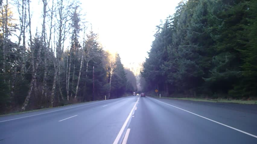 Logging truck with full load driving by on forest highway in Oregon.