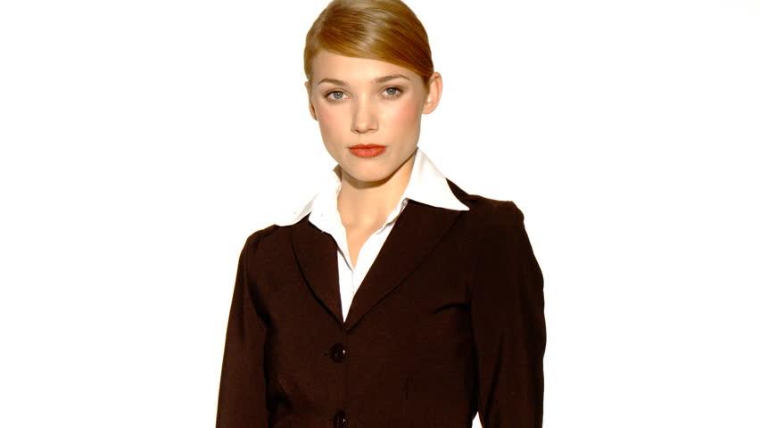 Beautiful young businesswoman showing thumb down    Shutterstock HD Video #576688