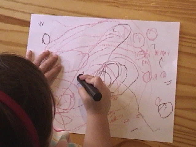 Children Coloring With Crayons Stock Footage Video 5791