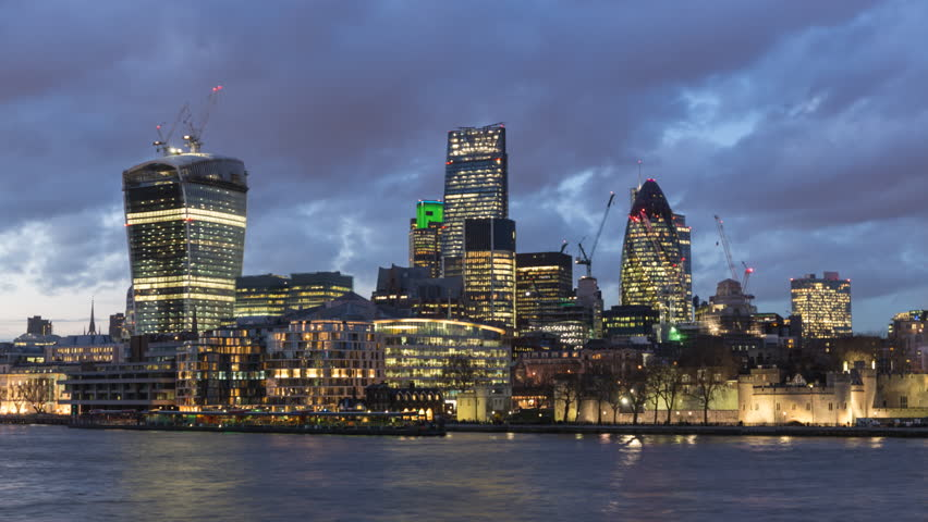 The City of London Financial District, London, England. A day to night transition time lapse. Towers include 20 Fenchurch Street known as the Walkie Talkie and 30 St Mary Axe known as the Gherkin. | Shutterstock HD Video #5792195