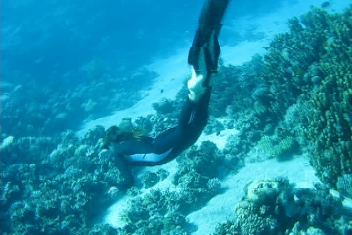 Beautiful freediver girl swims along coral reef near the sand bottom of the Red Sea
