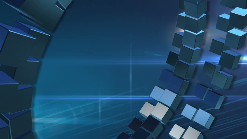 News Style Background - Rotating Blocks and Lens Flares Abstract Motion Blue Background 3d Animated Computer Design Abstract Background