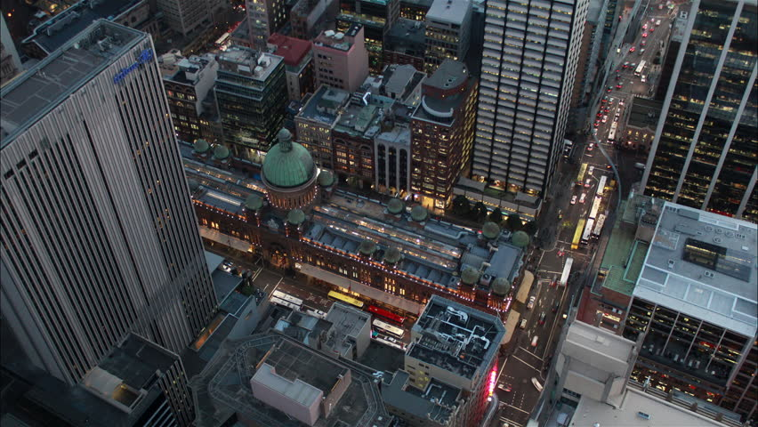 Aerial time Lapse of the activity around the QVB, Sydney Australia