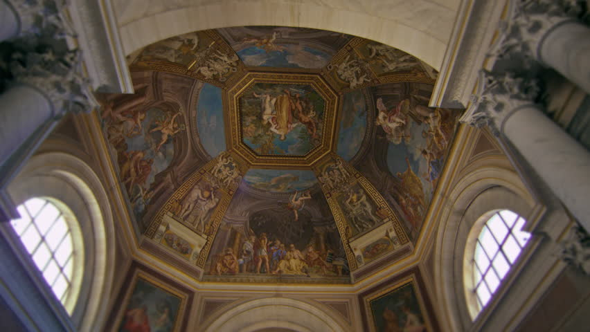 ROME, ITALY - MAY 5, 2012: An ornately painted domed ceiling in the Vatican Museum