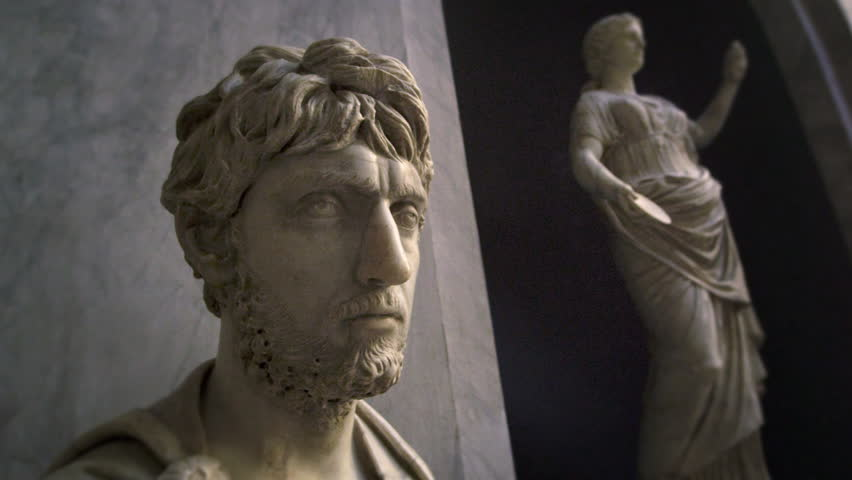 ROME, ITALY - MAY 5, 2012: Tracking shot of the bearded head of a statue