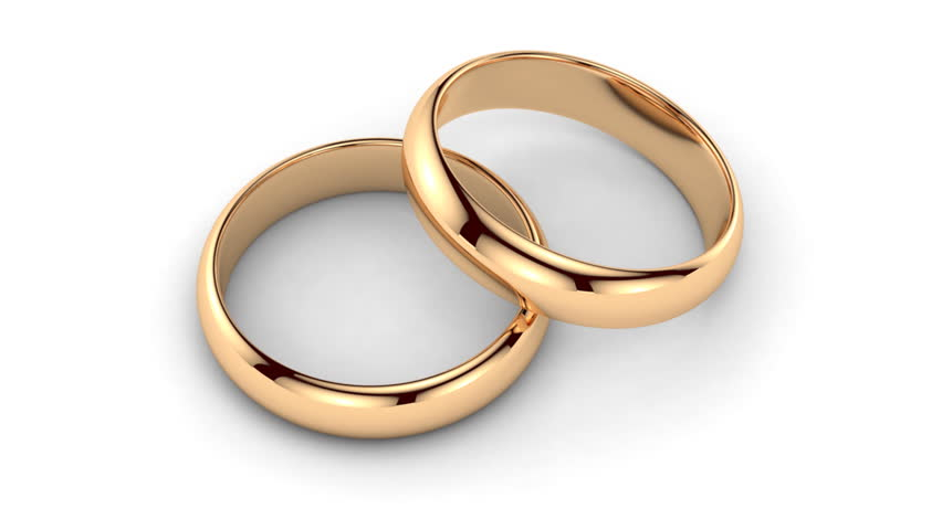 Gold Chains And Wedding Rings Rotate Stock Footage Video