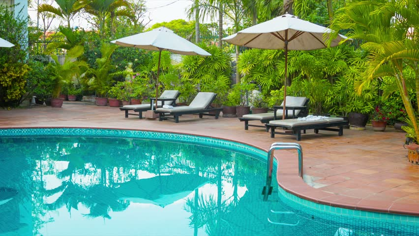 Around The Pool Custom High Definition Video  Sunbeds And Umbrellas Around The Pool At