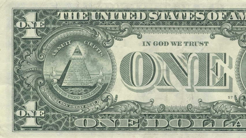 The All Seeing Eye on the back of the US Dollar Bill. Inside the oval is  made into 3D space for a better looking perspective/parallax. Annuit Coeptus and Novus Ordo Seclorum are also visible.