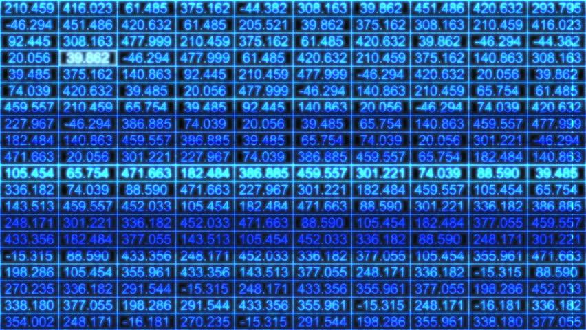 HD - A data grid of streaming numbers (Loop).