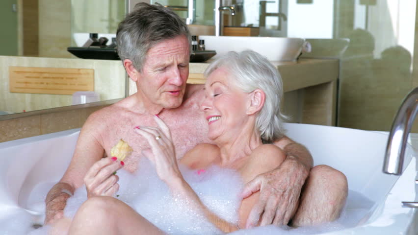 Stock Video Of Senior Couple Relax In Bubble Bath