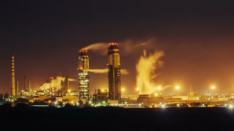 Ammonia production plant timelapse in night time