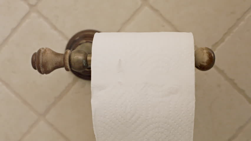 Grabbing paper from the roll in a toilet.