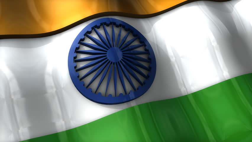 For Indian Flag Hd Animation: Rotating Earth With Rippling Indian Flag Animation Stock