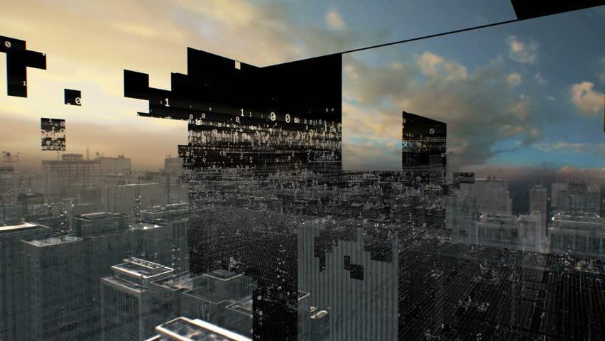 Information age digital city. | Shutterstock HD Video #5945579