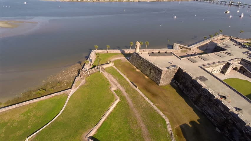 Aerial video footage of the Castillo De San Marcos in St Augustine FL circa 2014