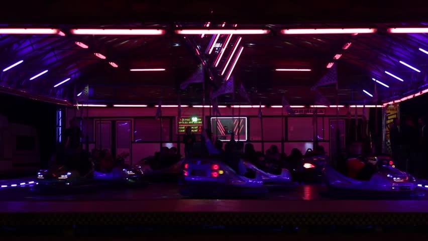 Empty Night Club Illuminated With Flashing Lights Stock