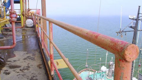 Offshore gas and oil production platform in the East-Kazantip field pan shot