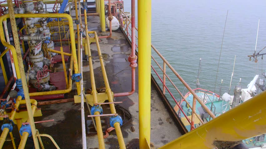 Natural gas extraction by offshore platform in Sea of Azov