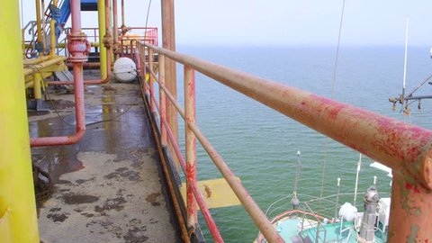 Offshore gas and oil production platform in the East-Kazantip field