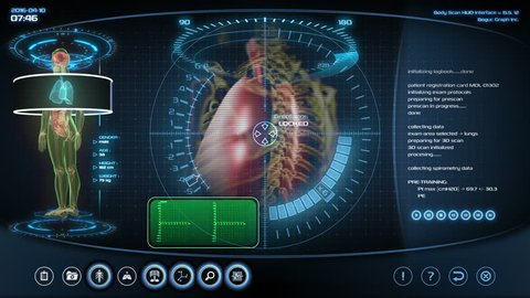 Futuristic lungs scan. Holographic medical application interface.