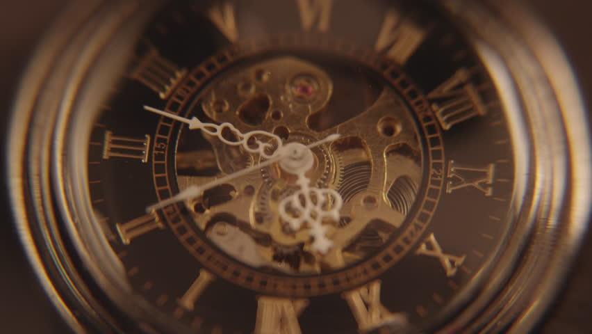 closeup antique clock gears 4k stock footage video