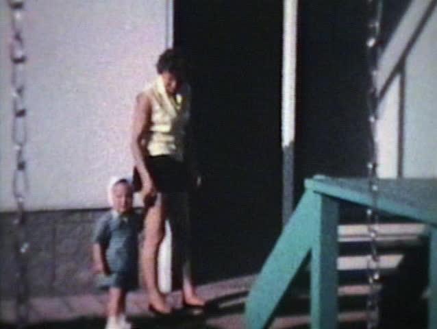 Mom And Little Boy Outside (1963 - Vintage 8mm film)