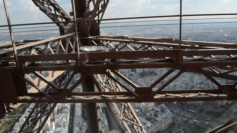 View from the lift going to the top of eiffel tower in paris, france