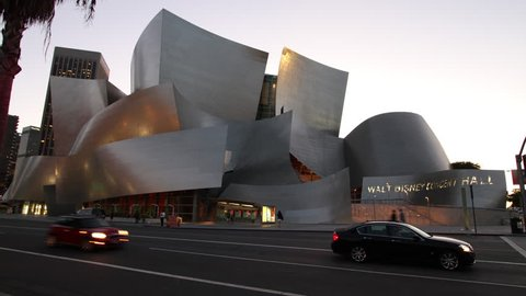 LOS ANGELES, CA - AUG 2011 Time Lapse from Day to Night of the World Famous Walt Disney Concert Hall in Downtown LA