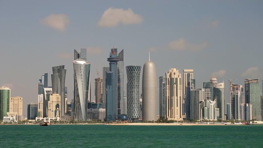 DOHA - CIRCA NOVEMBER 2013: Arabian peninsula and West Bay Central Finacial District,Doha, Qatar, Middle East