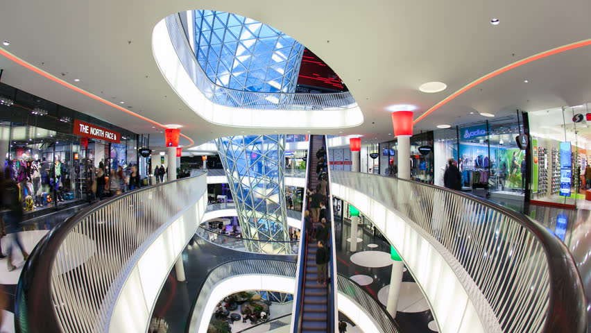 GERMANY - CIRCA JUNE 2013: Modern architecture in MyZeil shopping mall, Frankfurt am Main, Hesse, Germany, Europe