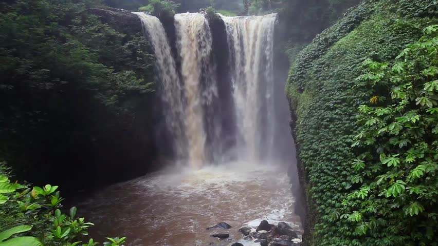 3 Big waterfall with strong winds and brown water