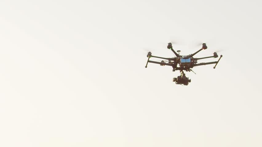SLOW MOTION: Drone landing on a meadow