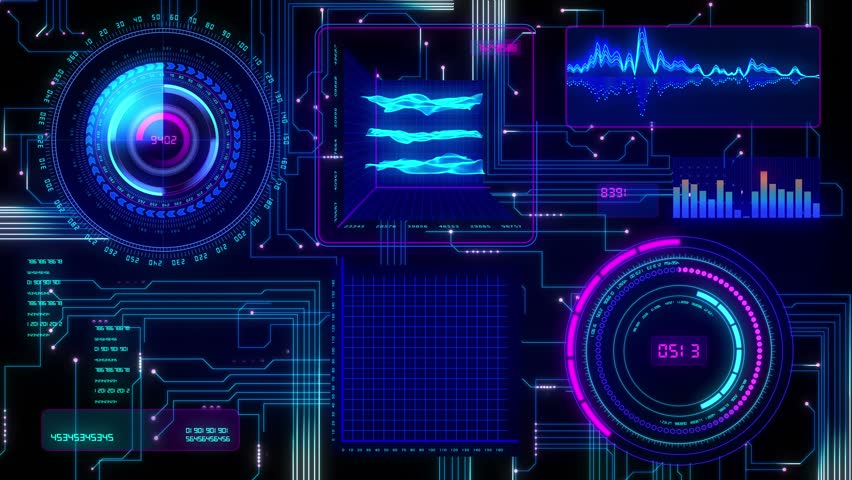 Futuristic technological interface background, seamless loop able.
