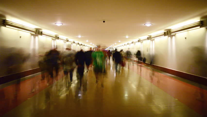 Time Lapse of Union Station Hallway with Commuters in Motion Blur -Zoom In-