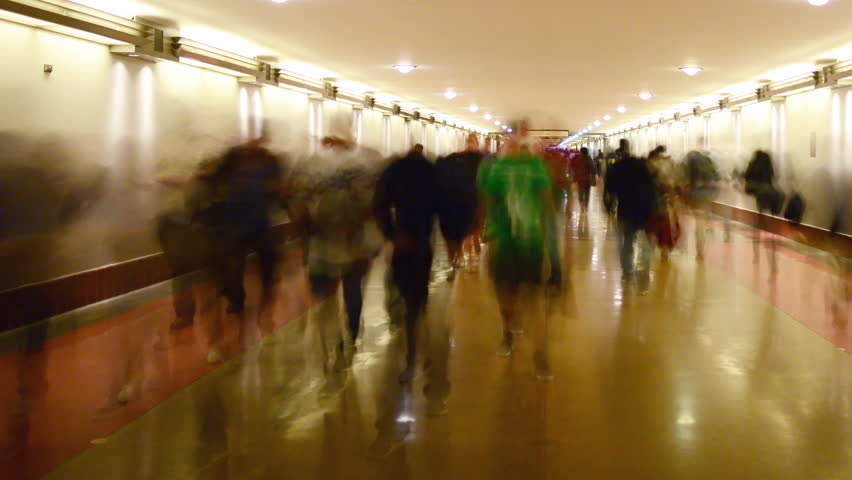 4K Time Lapse of Union Station Hallway with Commuters in Motion Blur -Pan-