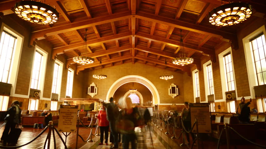Time Lapse of Historic Union Station in Los Angeles with Commuters in Motion Blur -Zoom In-