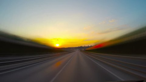 road at sunset, 4k time-lapse