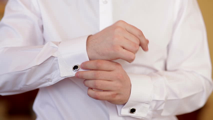 Man Wears White Shirt And Cufflinks Stock Footage Video 6138707 ...