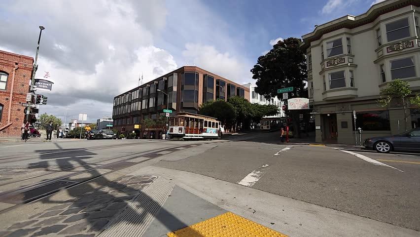 SAN FRANCISCO,CALIFORNIA - April 2012 :san Francisco cable car driving past beach st | Shutterstock HD Video #6162131