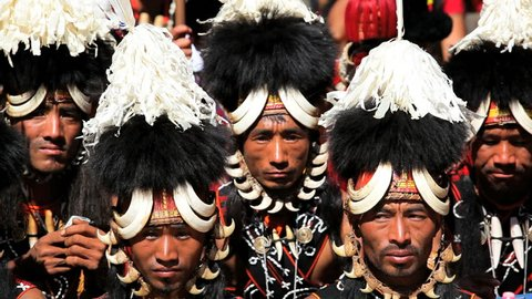 INDIA - DECEMBER 2012: Chang tribesmen wearing traditional costume tribal dancing festival, Nagaland, North East India