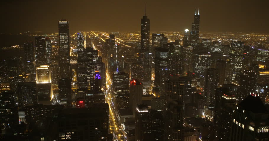 stock video of illuminated night chicago aerial view