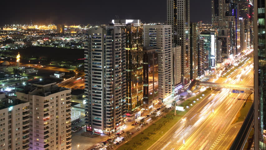 Roof view time lapse on main high light street in dubai | Shutterstock HD Video #6220721