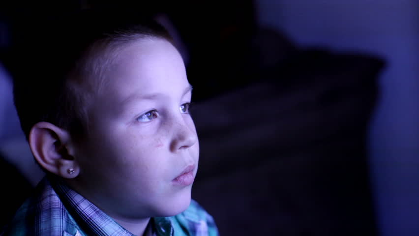 kids watching tv at night. late night tv watching - hd stock video clip kids at a