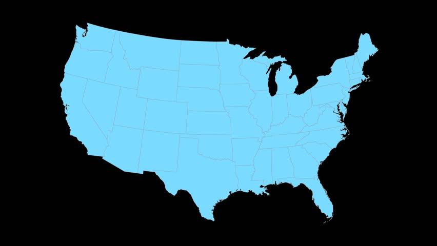 Kansas Animated Map Video Starts With Light Blue USA National Map