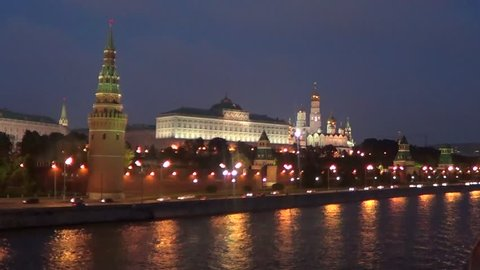 Moscow, Kremlin fortress with Kremlin palace and cathedrals at night.