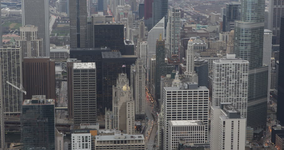 Commuters Busy Car Traffic Road Aerial View Skyline Chicago Michigan Avenue Day ( Ultra High Definition, Ultra HD, UHD, 4K, 2160P, 4096x2160 ) | Shutterstock HD Video #6242111